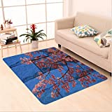 Nalahome Custom carpet Rustic Thai Sakura Blossom Mural Branch with Flowers Spring Floral Beauty Print Pink Blue area rugs for Living Dining Room Bedroom Hallway Office Carpet (5' X 8')