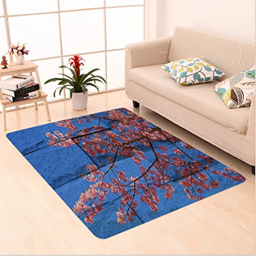 Nalahome Custom carpet Rustic Thai Sakura Blossom Mural Branch with Flowers Spring Floral Beauty Print Pink Blue area rugs for Living Dining Room Bedroom Hallway Office Carpet (5' X 8') by Nalahome