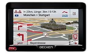 """Becker Professional 50 - GPS para coche (pantalla táctil de 5"""", formato 16:9, 44 mapas de países europeos, actualización cartográfica, canal TMC, control por voz OneShot), color blanco y plateado"""
