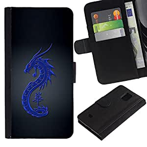 All Phone Most Case / Oferta Especial Cáscara Funda de cuero Monedero Cubierta de proteccion Caso / Wallet Case for Samsung Galaxy S5 Mini, SM-G800 // Tribal Blue Dragon