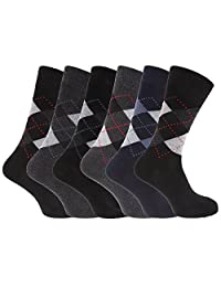 Mens Cotton Rich Argyle Patterned Socks (Pack Of 6)