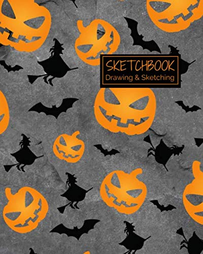 Halloween Ideas To Draw (Sketchbook Drawing & Sketching: Creepy Halloween Themed Sketch Book for Creative Doodling.  Spooky Pumpkins and Bats Blank Sketch Paper Notebook for Kids and)
