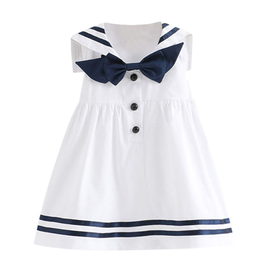 GridNN A-Line Dress-Toddler Kids Baby Girls Clothes Sleeveless Navy Bowknot Patchwork Party Princess Dresses