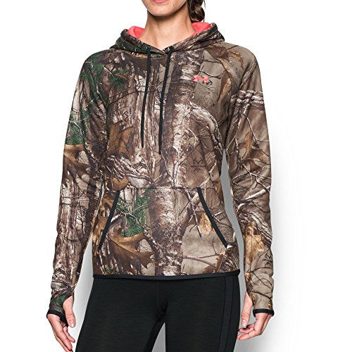 Under Armour Women's Icon Camo Hoodie, Realtree Ap-Xtra/Pink Chroma, Small (Under Armour Realtree Camo Shirt)