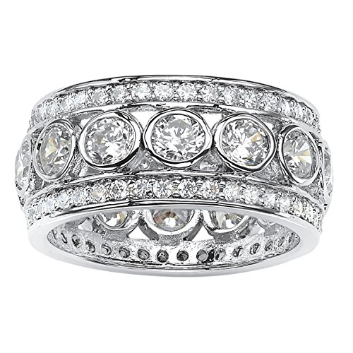 Round White Cubic Zirconia Platinum over .925 Silver Bezel-Set Triple-Row Eternity Ring Size 6