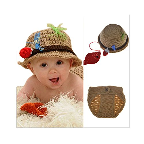 Baby Newborn Handmade Crochet Photography Props Fishing Fisherman Costume Outfit Fish Hat (Crochet Baby Clothes)