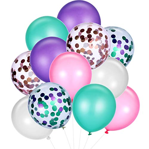 SATINIOR 60 Pieces Mermaid Balloons Colorful Latex Balloons Confetti Balloons for Wedding Birthday Party Baby Shower Decoration (Color Set 1) ()
