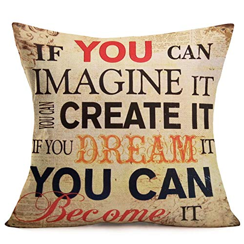 Aremetop Dream Inspirational Quote Colorful Letters Cotton Linen Throw Pillow Case Decorative Cushion Cover Motivational Sign Words Square Home Decor Pillowcases 18x18 Inches (Imagine and Dream) (Quotes Pillowcase)