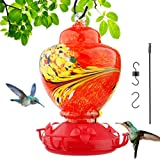 Sallia Hummingbird Feeders for Outdoors, More Safer Hummingbird Feeders, Hand Blown Glass Hummingbird Feeder, Hand Blown Glass Humming Bird Feeder for Outside, Upgraded Leak Proof