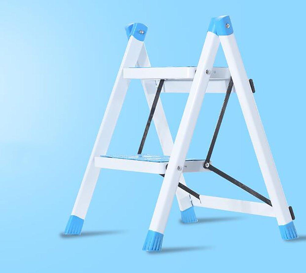 はしご便 家庭用ラダー折りたたみラダー3層ラダースツールステップラダー多層ラダー (色 : Blue) B07F3LFX45 Blue Blue