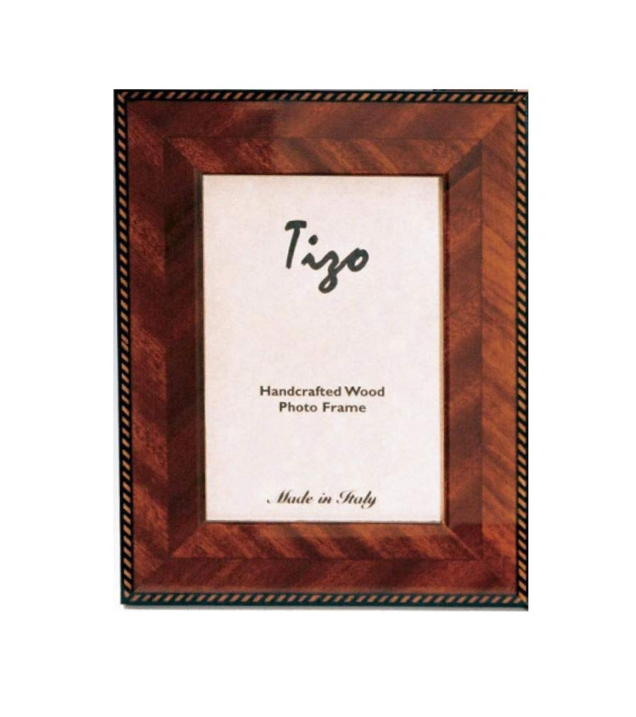 Tizo 5'' X 7'' Brown Double Border Wooden Frame, Made in Italy