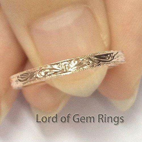 (Filigree Art Deco Antique MILGRAIN Wedding Band Anniversary Ring 14K Rose)