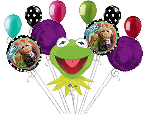 11 pc Muppets Kermit & Ms. Piggy Balloon Bouquet Party Decoration Happy Birthday ()