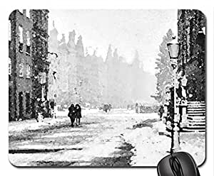 Winter - Gdansk - Poland Mouse Pad, Mousepad (Winter Mouse Pad, Watercolor style)