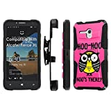 Alcatel [Fierce XL] Armor Case [SlickCandy] [Black/Black] Heavy Duty Defender [Holster] [Kick Stand] Phone Case - [Hoo is There Owl] for Alcatel One Touch [Fierce XL]