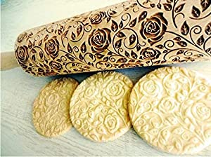 Rolling pin Damascus Roses. Wooden embossing rolling pin with Rose. Roses wreath. Dough roller for cookies Flower rose.