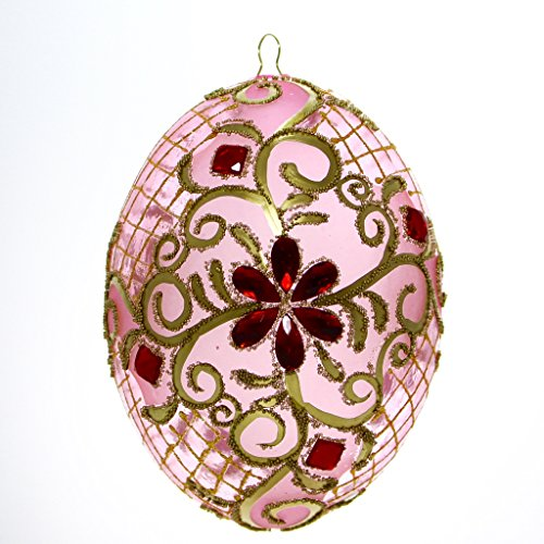 Pink with Gold Trim and Red Gems Egg Christmas or Easter ()