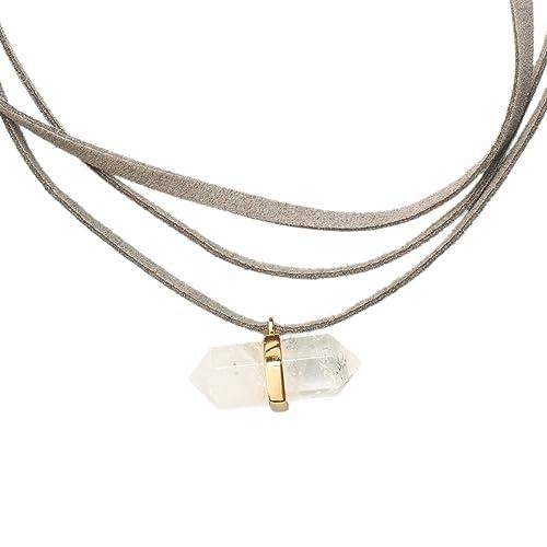 e872614dd859 LuckyLy – Collares para Mujer – Gargantilla Mujer Valentine – Gamuza Gris  con Dije de Cuarzo