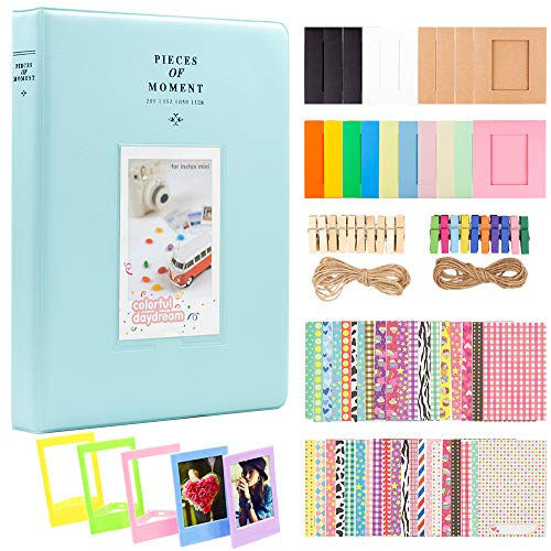 (Ablus 2x3 Inch Photo Paper Film Album Set for Fujifilm Instax Mini Camera, Polaroid Snap, Z2300, SocialMatic Instant Cameras & Zip Instant Printer (128 Pockets, Ice Blue))