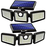 Solar Lights Outdoor, AmeriTop 128 LED 1200LM Wireless LED Solar Motion Sensor Lights Outdoor; 3 Adjustable Heads, 270° Wide Angle Illumination, IP65 Waterproof, Security LED Flood Light- 2 Pack