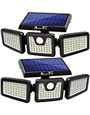 Solar Lights Outdoor, AmeriTop 128 LED Wireless LED Solar Motion Sensor Lights Outdoor; 3 Adjustable Heads, 270° Wide Angle Illumination, IP65 Waterproof, Security LED Flood Light- 2 Pack