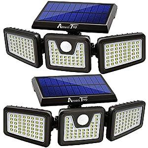 Solar Lights Outdoor, AmeriTop 128 LED Wireless LED Solar Motion Sensor Lights Outdoor; 3 Adjustable Heads, 270° Wide…