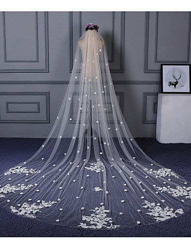 FJY&TS One-tier Cut Edge Lace Applique Edge Wedding Veil Cathedral Veils 53 Scattered Bead Floral Motif Style Appliques Lace Tulle, ivory