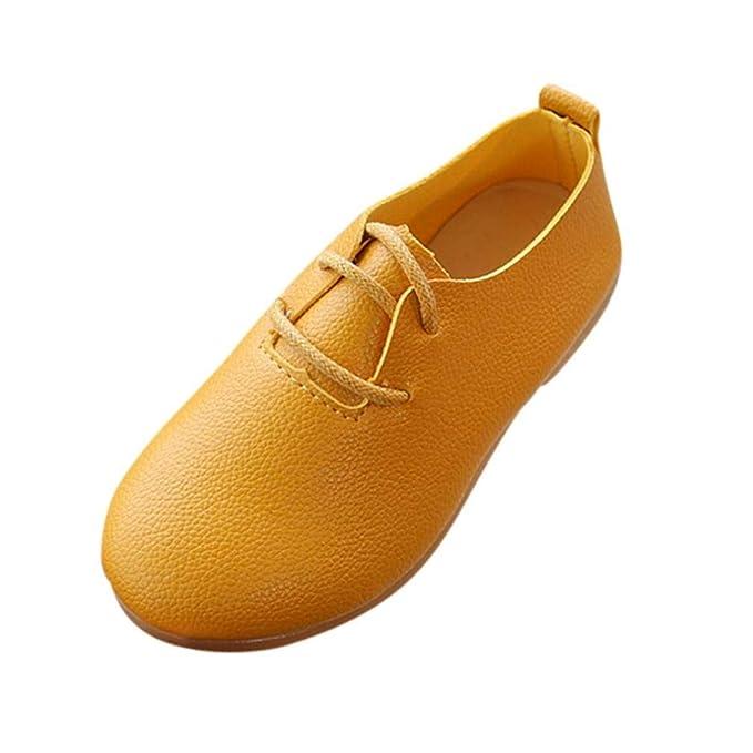 ZODOF Niños Niñas Sólido de Cuero Princesa Formal Sola Fiesta Boda Zapatos Casuales: Amazon.es: Ropa y accesorios