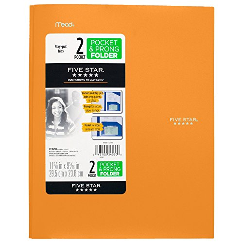 """043100340300 - Five Star Pocket Folder, 2 Pocket Stay-Put Plastic Folder, 11-5/8"""" x 9-5/16"""", Color Selected For You May Vary (34030) carousel main 1"""