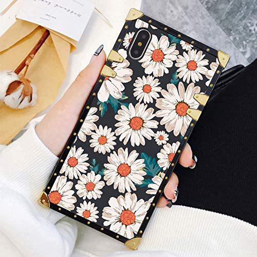 Square Case Compatible iPhone Xs Max Flower Daisy Luxury Elegant Soft TPU Full Body Shockproof Protective Case Metal Decoration Corner Back Cover iPhone Xs Max Case 6.5 -