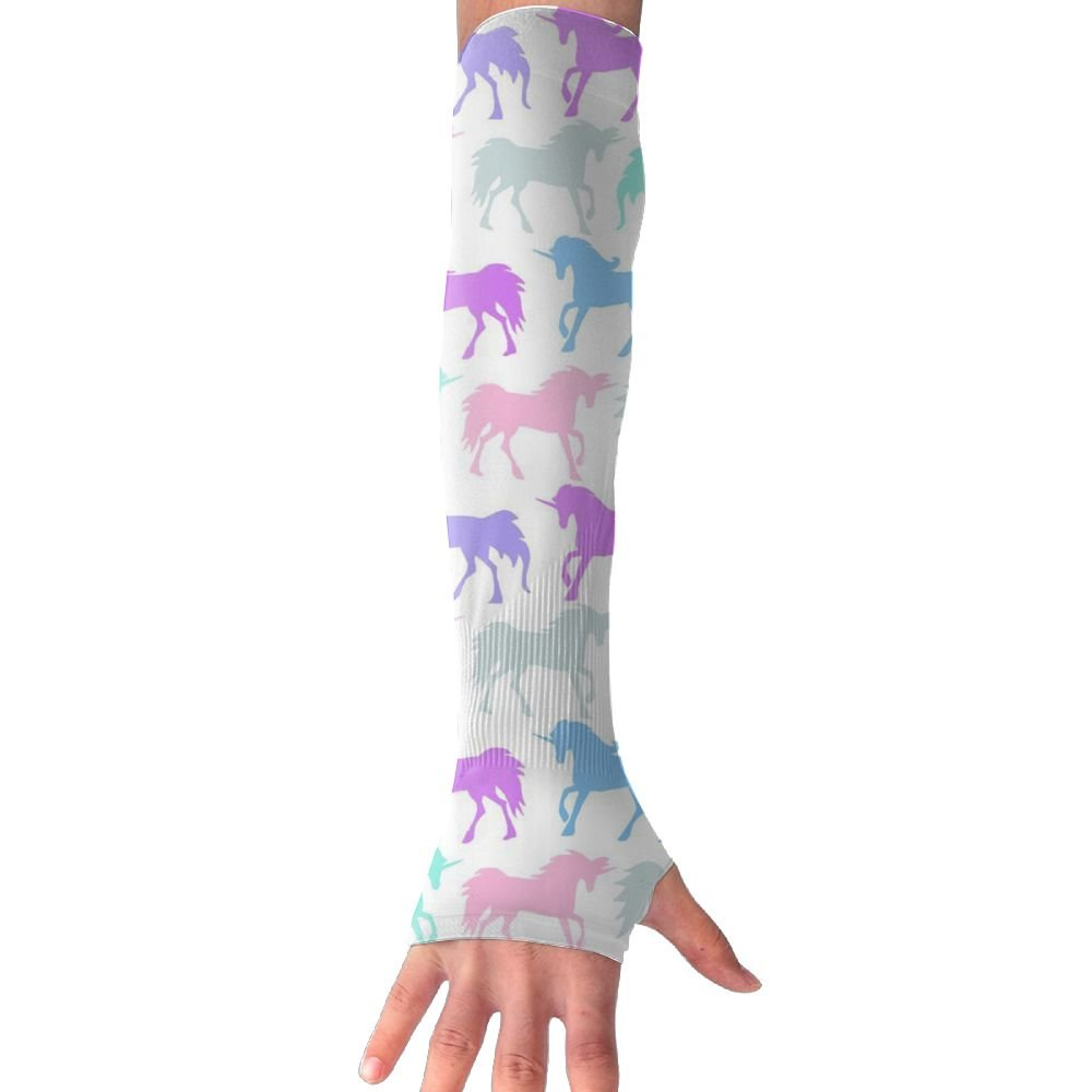 Huadduo Pastel Unicorns UV Sun Protection Sleeves,Cooling Arm Sleeves For Men & Women Long Arm Sleeve Glove Fit Running,Golf,Cycling, Biking,Driving.