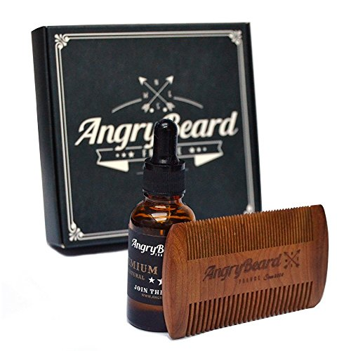 Mens beard oil kit Angrybeard Beard Growth Oil with Beard Comb kit - Beard Oil Organic Conditioner Grooming Kit for Beard Growth Mustache Comb - Natural Beard Oil for Styling Shaping & Growth