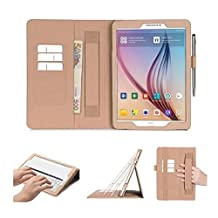 Samsung Galaxy Tab S2 9.7 Case Cover, FYY® [Super Functional Series] Premium PU Leather Case Stand Cover with Card Slots, Note Holder, Quality Hand Strap and Elastic Strap for Samsung Galaxy Tab S2 9.7 (With Auto Wake/Sleep Feature) Gold