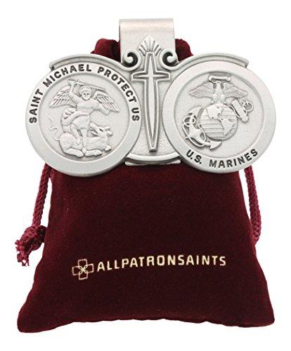 St Michael US Marines Auto Visor Clip