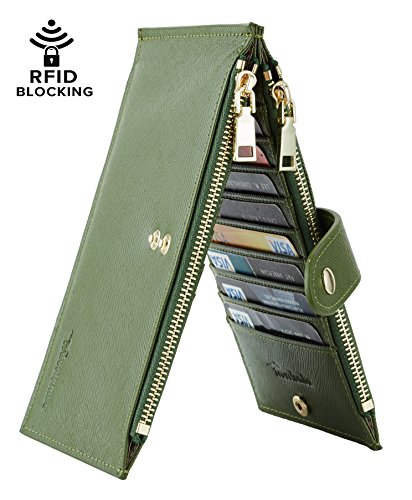 Travelambo Womens Walllet RFID Blocking Bifold Multi Card Case Wallet with Zipper Pocket (synethic leather army green)