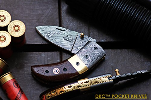 DKC-43-BR-DS-BROWN-THUMB-Damascus-Steel-Folding-Pocket-Knife-35-Folded-625-Open-75oz-225-Blade-High-Class-Looks-Incredible-Feels-Great-In-Your-Hand-And-Pocket-Damascus-Bolster-DKC-Knives