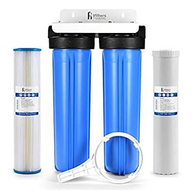 """Well Water Whole House Filtration System 20"""" Dual Stage Complete Commercial Grade Sediment Odor Taste Rust 1"""" Ports"""