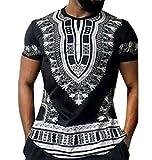 Yayu Mens Short Sleeve Crewneck Africa Leisure Oversized Fashion T-Shirts Black XL