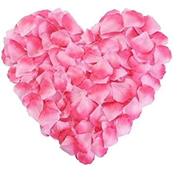 Pink rose petals silk flower fake for romantic for Decorate with flowers amazon