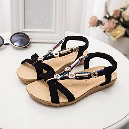 Goodsatar De las mujeres Verano Sandalias Peep toe Sandalias romanas de los zapatos bajos Chancletas Negro