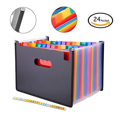 JUJUISM Expanding Files Folder 24 Pockets Rainbow A4 Stand Accordion Document Coupon Bill Organizer Portable Plastic Multicolor Business Office Filing Box with Cut-Resistant Cloth Edge Wrap by Jujuism