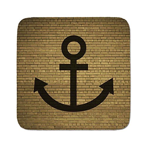 Pads Cushion Area Rug,Anchor Decor,Digital Anchor Chain Icon over Brick Wall Vintage Vessel Part Hook Up the Boat Theme,Tortilla Brown,Easy to Use on Any Surface ()