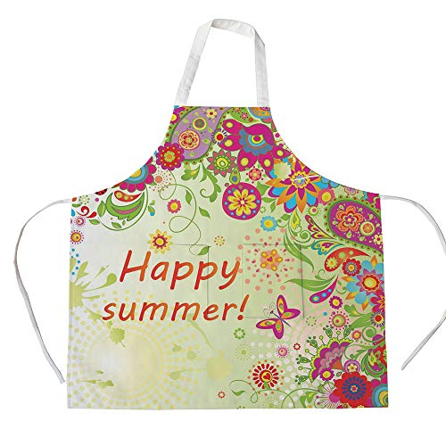 iPrint Cotton Linen Apron,Two Side Pocket,Floral,Blossoms Bud Flowers Leaves Paisley Ethnic Motifs with Hello Summer Quote Image,Multicolor,for Cooking Baking Gardening