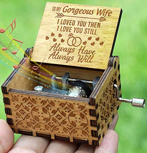 - Engraved Music Box - You are My Sunshine, Gift for Wife from Husband - I Love You.