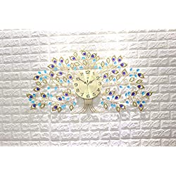 KINBEDY Luxury Big Tree Crystal Bohemian Peacock Style Metal Modern Wall Clock with Silent Movement 10 Metal Dial Large Decorative Clock for Living Room, Bedroom, Office Space. 32''X17''.