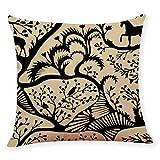 Pgojuni Cotton Linen Square Home Decorative Throw Pillow Case Sofa Waist Cushion Cover Sofa/Couch 1pc 45X45 cm (I)