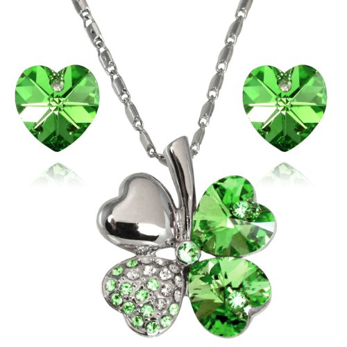 Heart Clover - Dahlia Lucky Love Heart Clover Necklace & Earrings Set with Crystals from Swarovski, Green