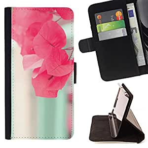 Super Marley Shop - Leather Foilo Wallet Cover Case with Magnetic Closure FOR Sony Xperia M2 s50h Aqua- Red Flowers