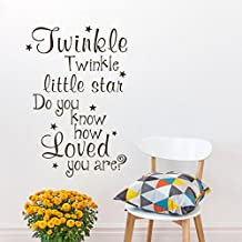 Nursery Baby Room Wall Decal Quotes Vinyl Girls Boys Vinyl Stars Lettering Sticker Words Art Twinkle Twinkle Little Star Do You Know How Loved You Are£¨Small,Black£©