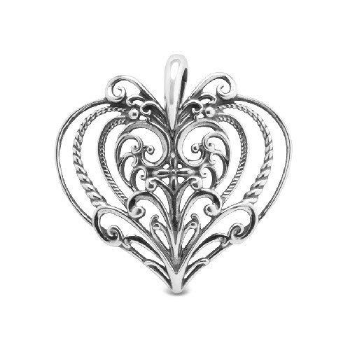 Carolyn Pollack Sterling Silver Rope and Filigree Heart Pendant Enhancer